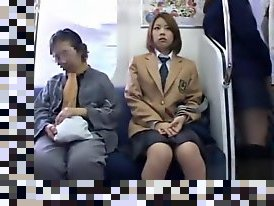 japanese schoolgirls on train